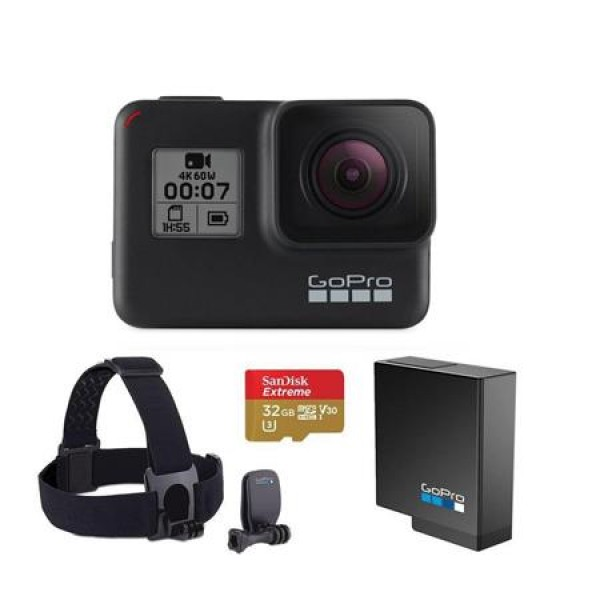 GoPro HERO7 Black - Bundle With GoPro Head Strap + QuickClip, 32GB Micro SDHC U3 Card, Spare Gopro Battery
