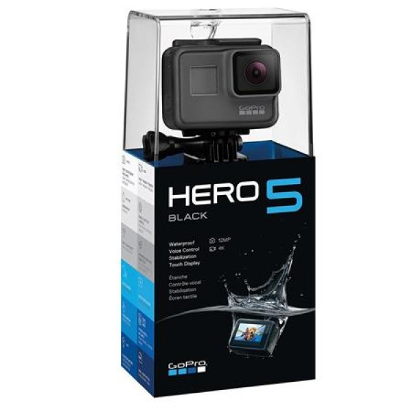 GoPro HERO5 Black - Bundle With GoPro 3-Way 3-in-1 Mount, 32GB MicroSDHC U3 Card, Spare Battery
