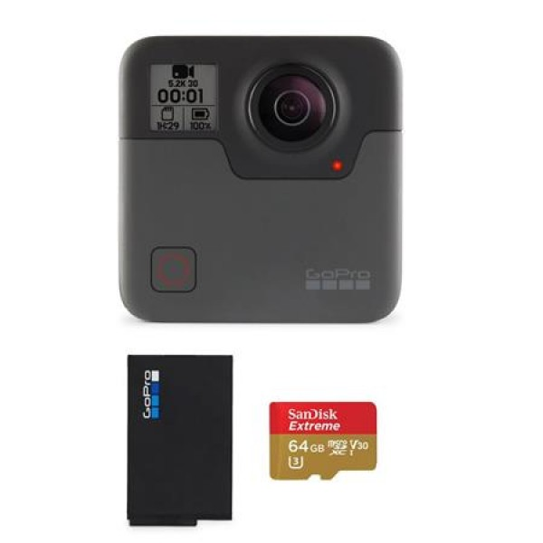 GoPro Fusion - Bundle With GoPro Rechargeable Battery, 64GB MicroSDXC Card