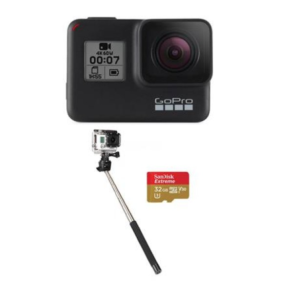 GoPro HERO7 Black - - Bundle with 32GB SDHC Card, and Selfie Stick