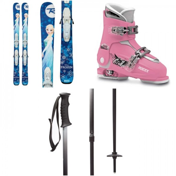 Rossignol Frozen Skis ​+ Kid-X 4 Bindings - Girls' ​+ Roces Idea Adjustable Alpine Ski Boots (19-22) - Kids' ​+ evo Lil Send'r Adjustable Ski Poles - Little Kids'