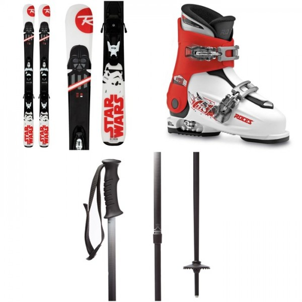 Rossignol Star Wars Skis ​+ Kid-X 4 Bindings - Kids' ​+ Roces Idea Adjustable Alpine Ski Boots (19-22) - Kids' ​+ evo Lil Send'r Adjustable Ski Poles - Little Kids'