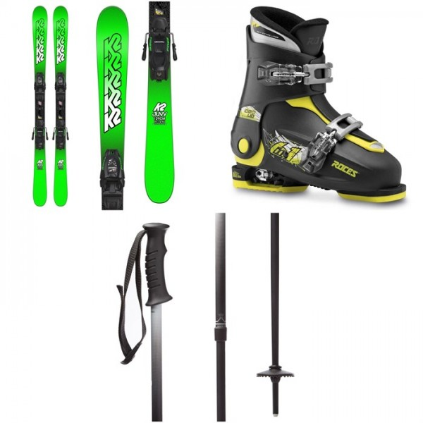 K2 Juvy Skis ​+ Marker FDT 7.0 Bindings - Boys' ​+ Roces Idea Adjustable Alpine Ski Boots (19-22) - Kids' ​+ evo Lil Send'r Adjustable Ski Poles - Little Kids'